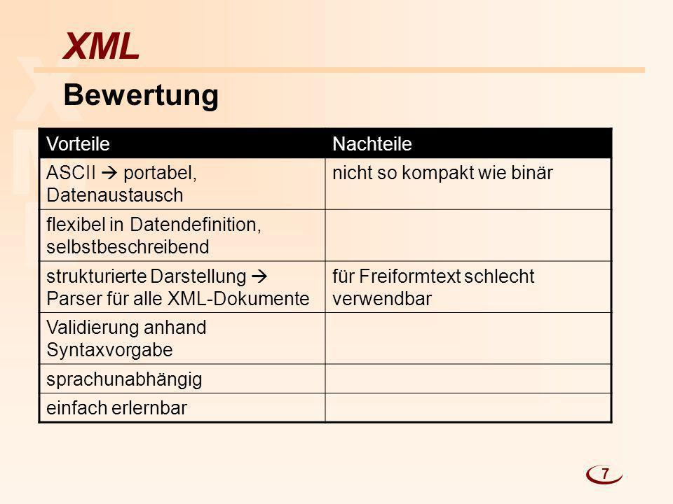 X M L XML Bewertung Vorteile Nachteile
