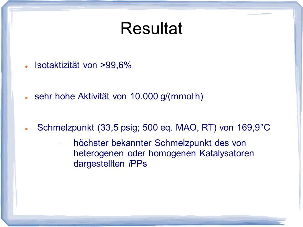 Resultat Isotaktizität von >99,6%