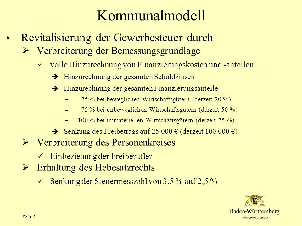 Kommunalmodell Revitalisierung der Gewerbesteuer durch