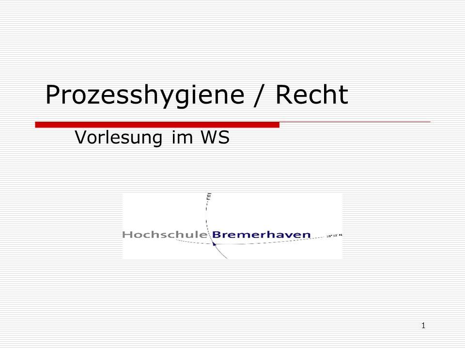 Prozesshygiene / Recht