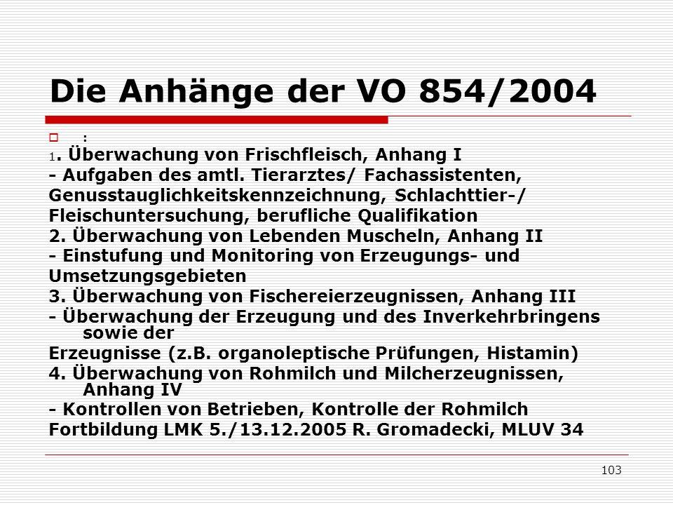 Die Anhänge der VO 854/2004: 1. Überwachung von Frischfleisch, Anhang I. - Aufgaben des amtl. Tierarztes/ Fachassistenten,