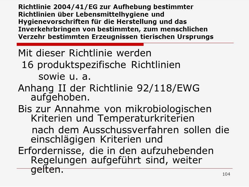 Mit dieser Richtlinie werden 16 produktspezifische Richtlinien