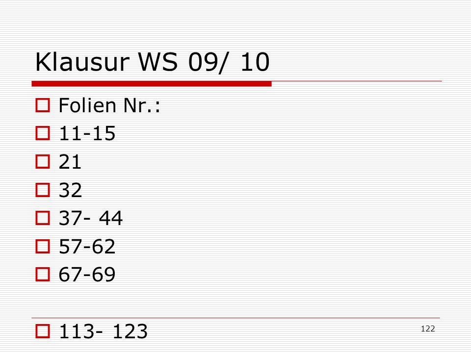 Klausur WS 09/ 10 Folien Nr.: 11-15 21 32 37- 44 57-62 67-69 113- 123