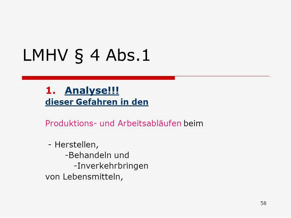 LMHV § 4 Abs.1 Analyse!!! dieser Gefahren in den