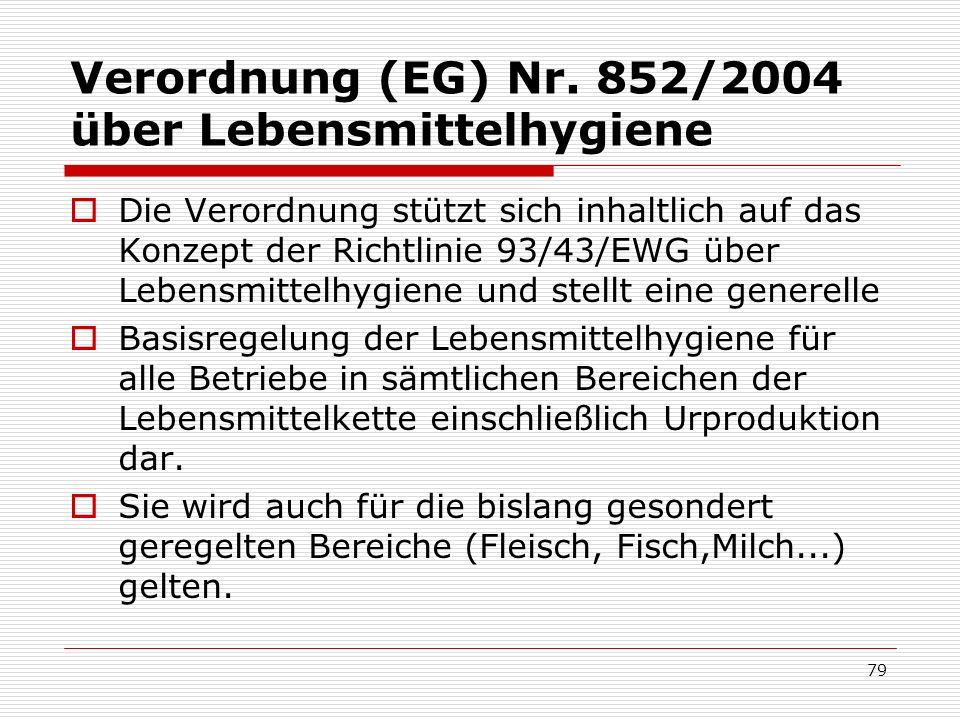 Verordnung (EG) Nr. 852/2004 über Lebensmittelhygiene