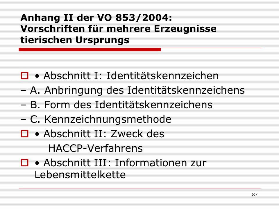 • Abschnitt I: Identitätskennzeichen
