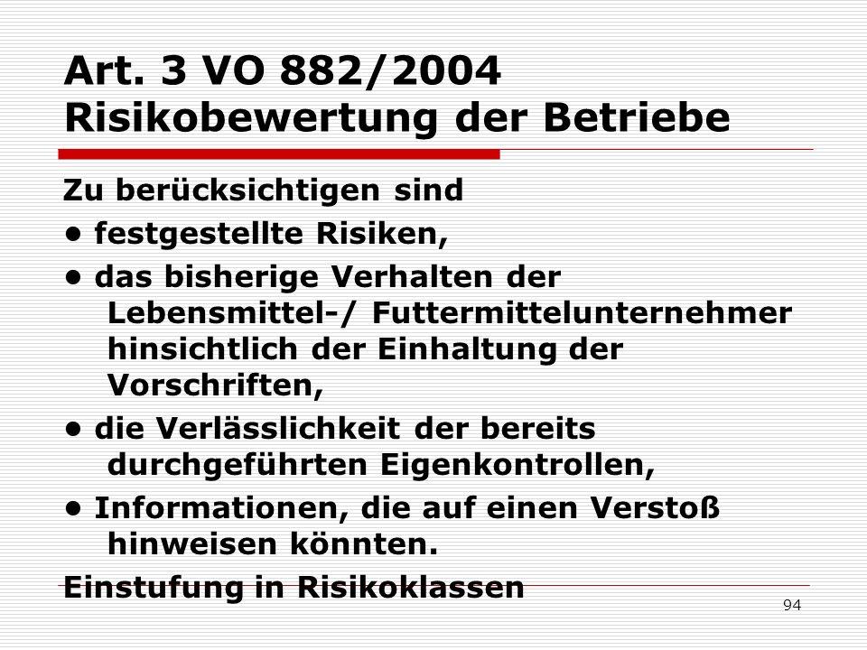 Art. 3 VO 882/2004 Risikobewertung der Betriebe