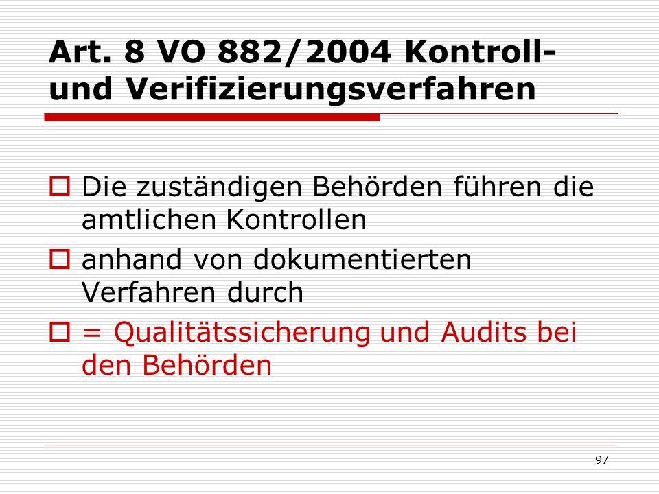 Art. 8 VO 882/2004 Kontroll- und Verifizierungsverfahren