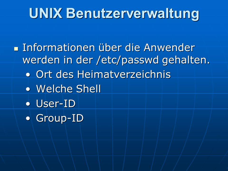 UNIX Benutzerverwaltung
