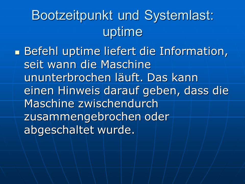 Bootzeitpunkt und Systemlast: uptime