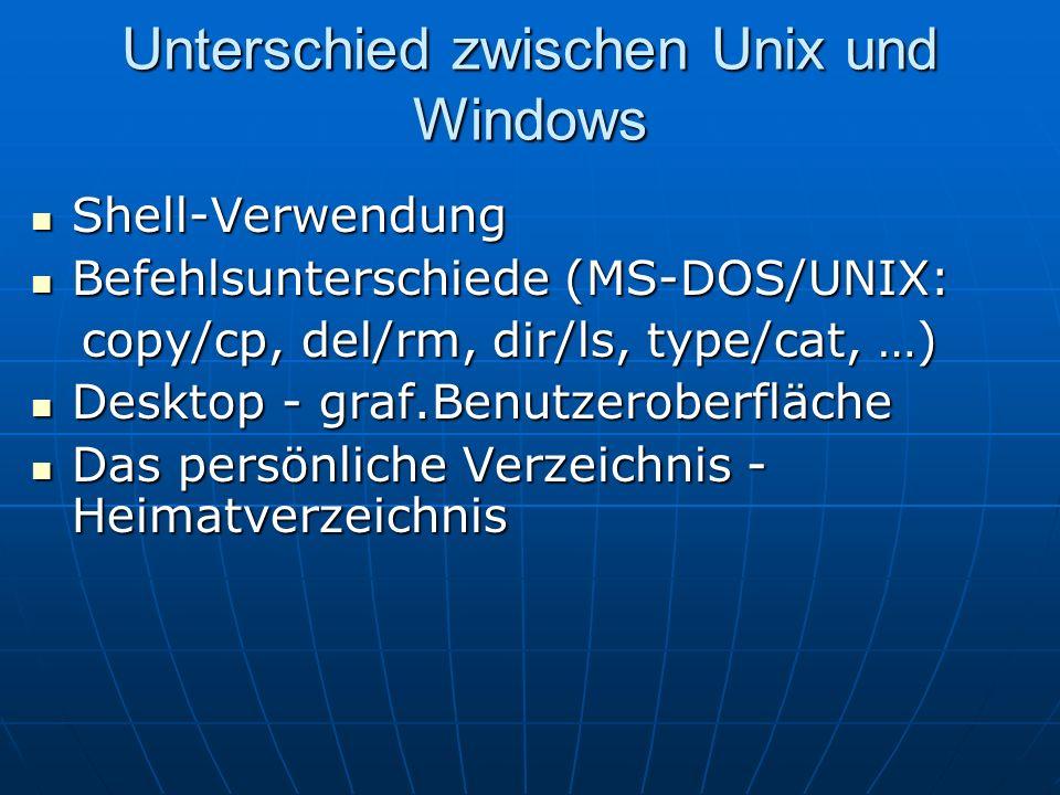 Unterschied zwischen Unix und Windows