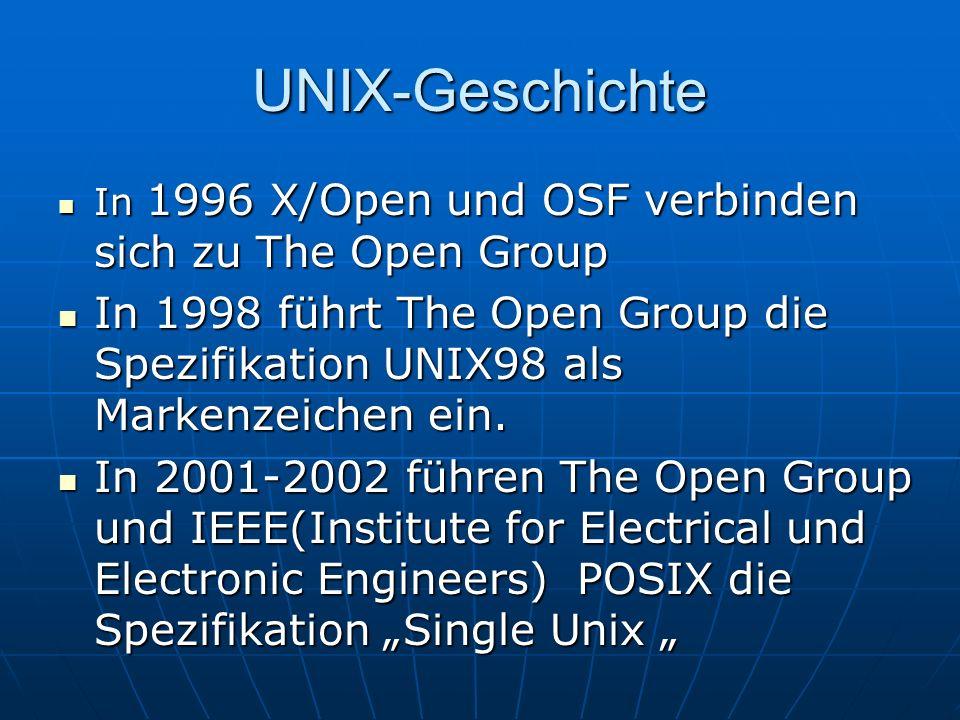UNIX-Geschichte In 1996 X/Open und OSF verbinden sich zu The Open Group.