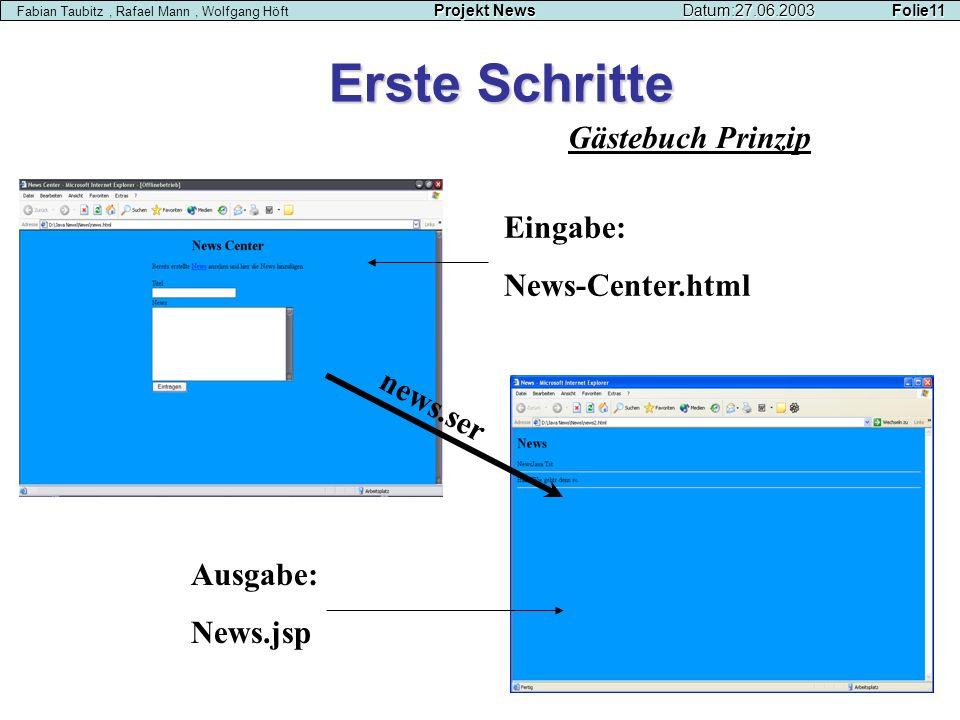 Erste Schritte Gästebuch Prinzip Eingabe: News-Center.html news.ser