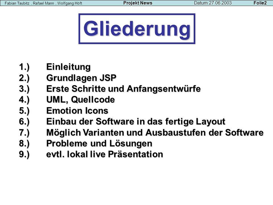 Gliederung 1.) Einleitung 2.) Grundlagen JSP