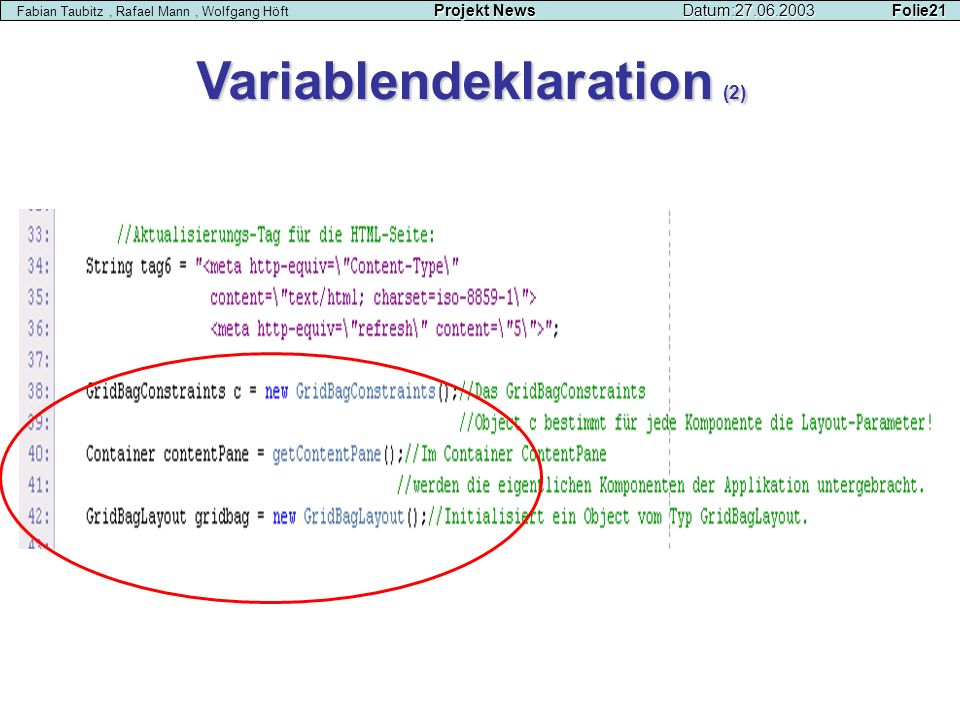 Variablendeklaration (2)