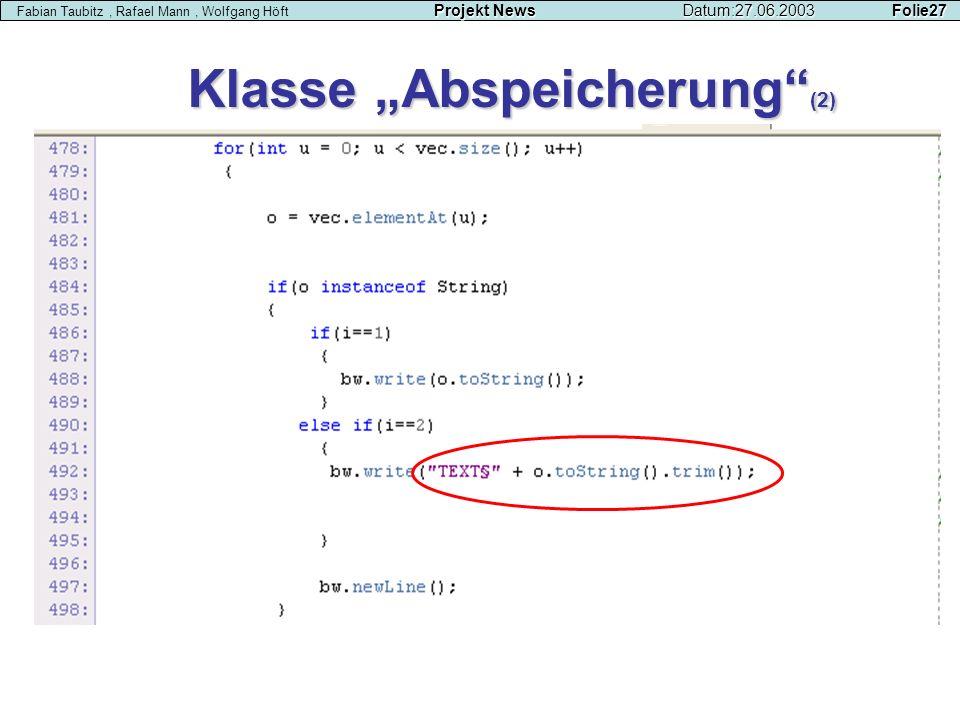 """Klasse """"Abspeicherung (2)"""