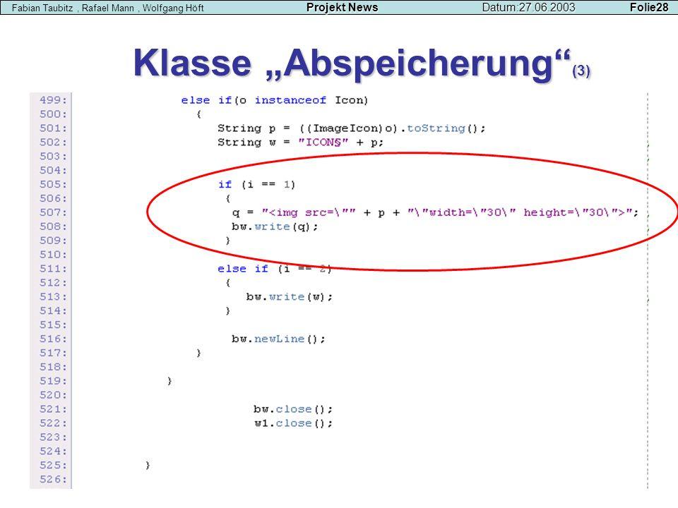 """Klasse """"Abspeicherung (3)"""