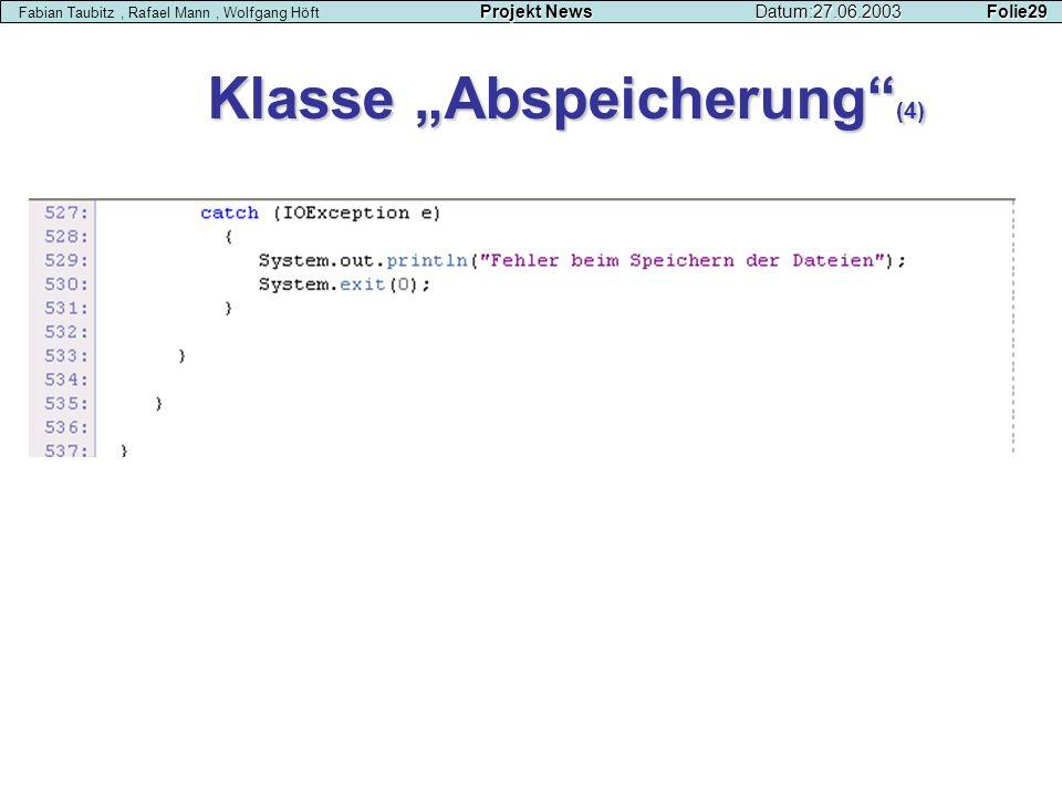"""Klasse """"Abspeicherung (4)"""