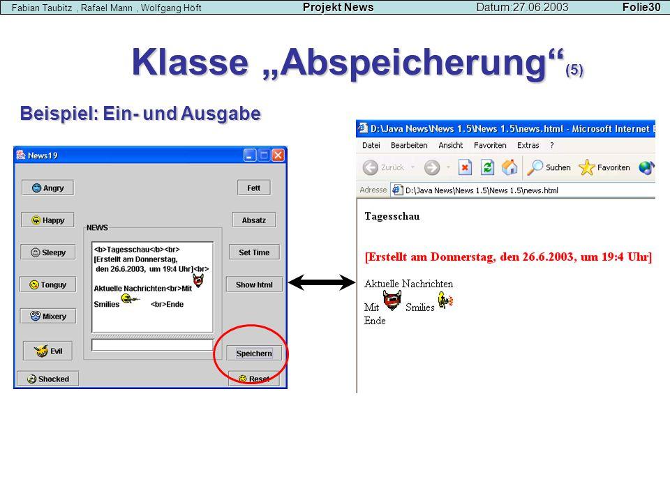 """Klasse """"Abspeicherung (5)"""