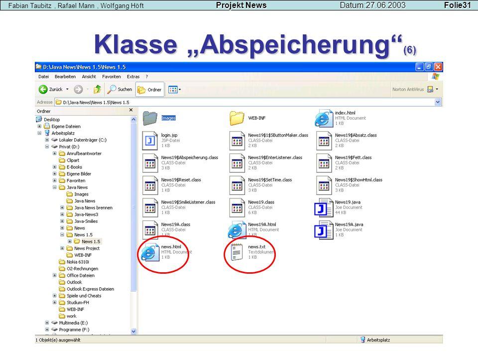 """Klasse """"Abspeicherung (6)"""