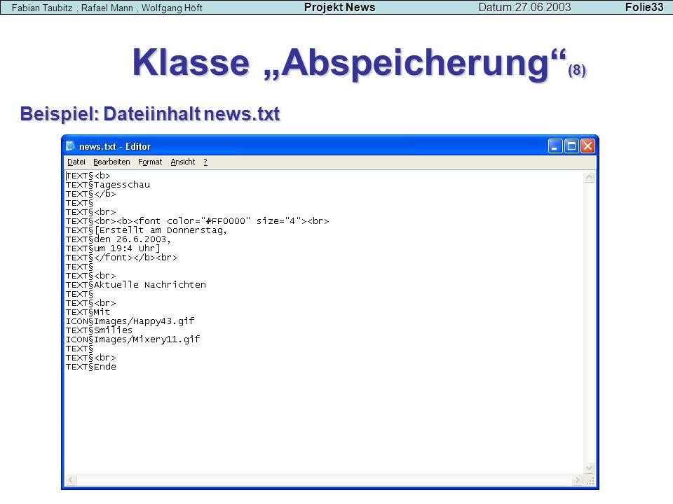"""Klasse """"Abspeicherung (8)"""