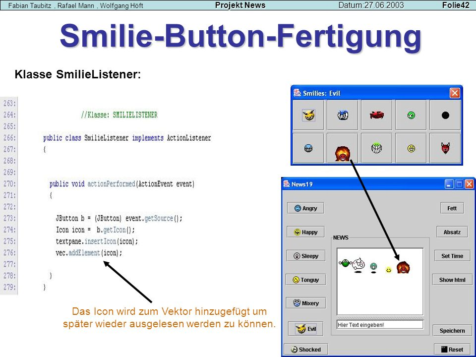 Smilie-Button-Fertigung Klasse SmilieListener: