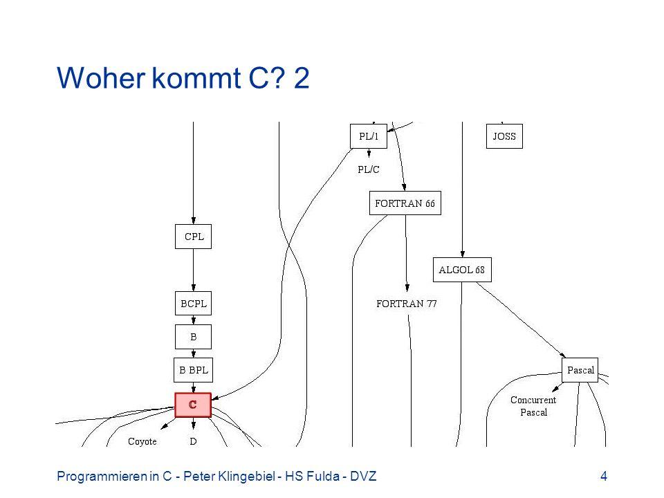 Woher kommt C 2 Programmieren in C - Peter Klingebiel - HS Fulda - DVZ
