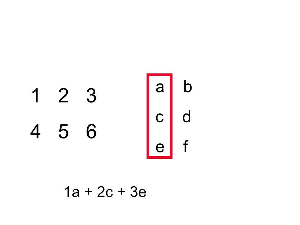 a b c d e f 1 2 3 4 5 6 1a + 2c + 3e