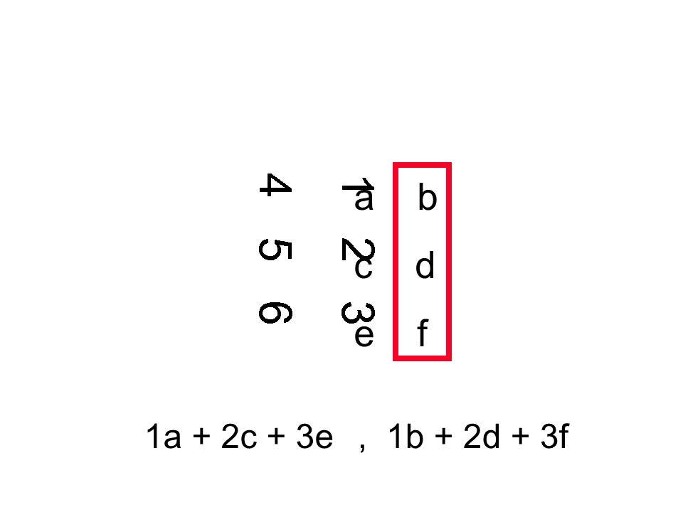 a b c d e f 1a + 2c + 3e , 1b + 2d + 3f