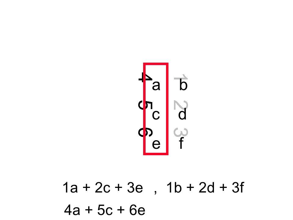a b c d e f 1a + 2c + 3e , 1b + 2d + 3f 4a + 5c + 6e