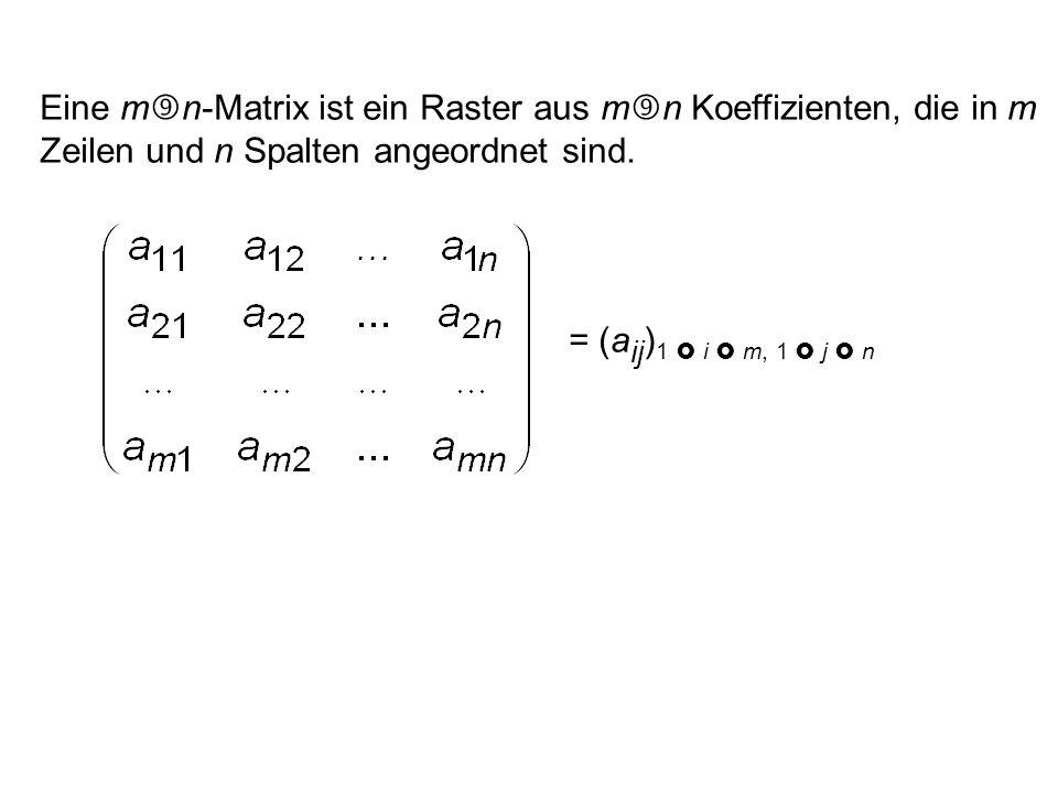 Eine mn-Matrix ist ein Raster aus mn Koeffizienten, die in m Zeilen und n Spalten angeordnet sind.