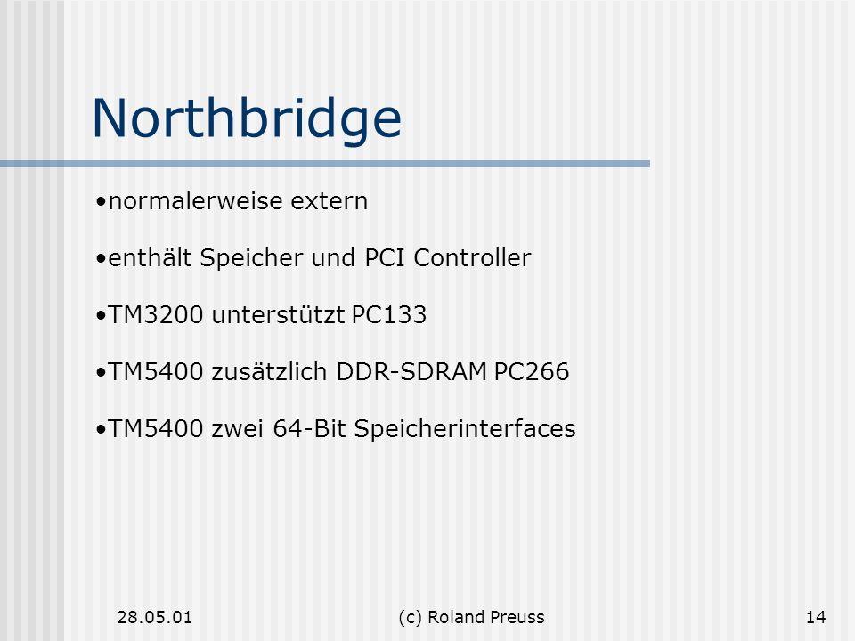 Northbridge normalerweise extern enthält Speicher und PCI Controller