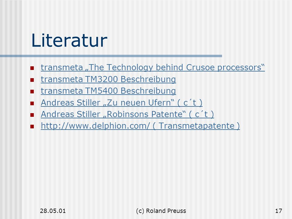 "Literatur transmeta ""The Technology behind Crusoe processors"