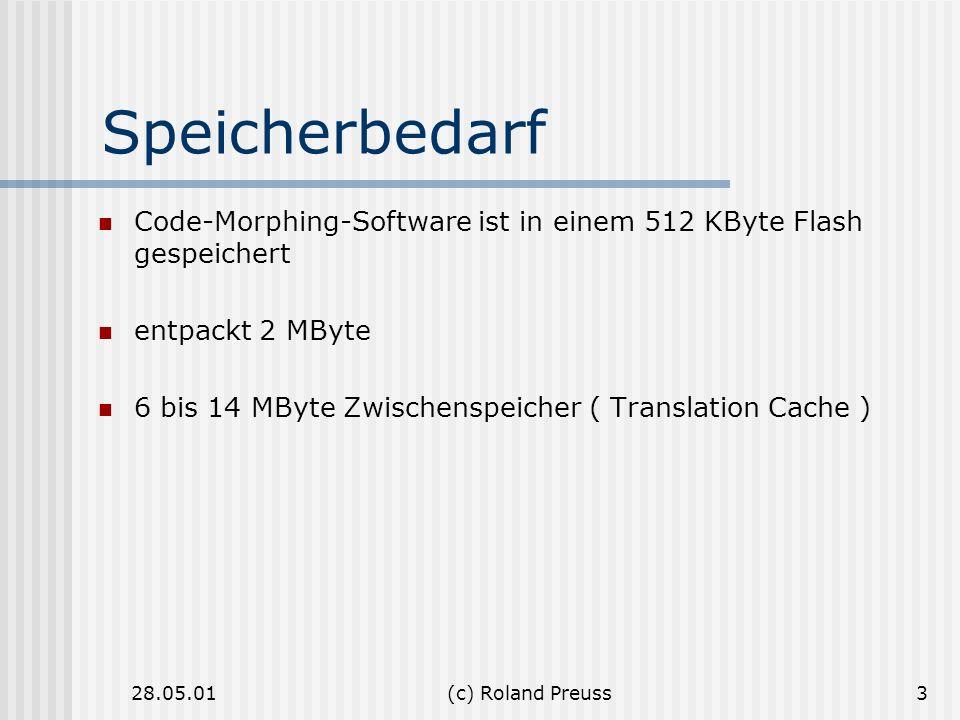 Speicherbedarf Code-Morphing-Software ist in einem 512 KByte Flash gespeichert. entpackt 2 MByte.