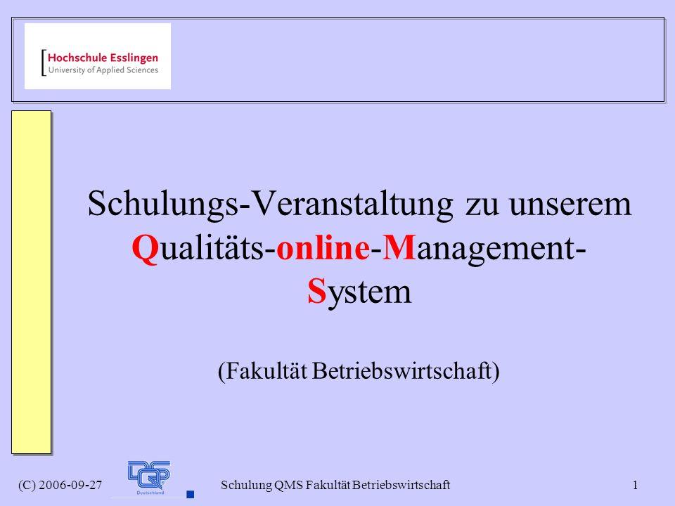 Schulungs-Veranstaltung zu unserem Qualitäts-online-Management-System (Fakultät Betriebswirtschaft)