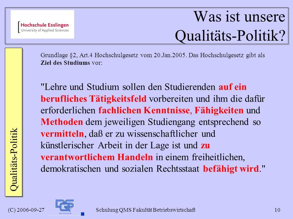 Was ist unsere Qualitäts-Politik