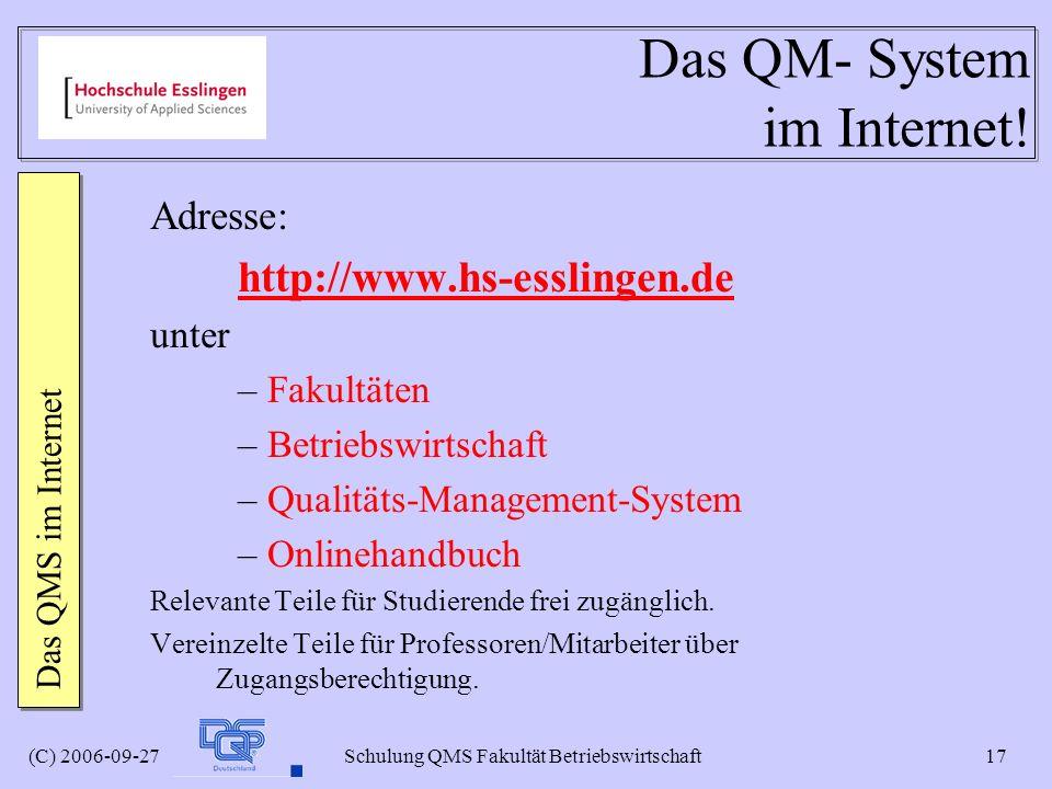 Das QM- System im Internet!