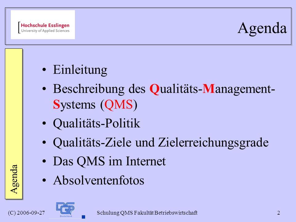 Agenda Einleitung Beschreibung des Qualitäts-Management-Systems (QMS)