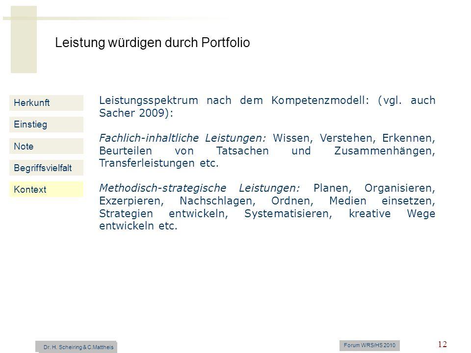 Leistungsspektrum nach dem Kompetenzmodell: (vgl. auch Sacher 2009):