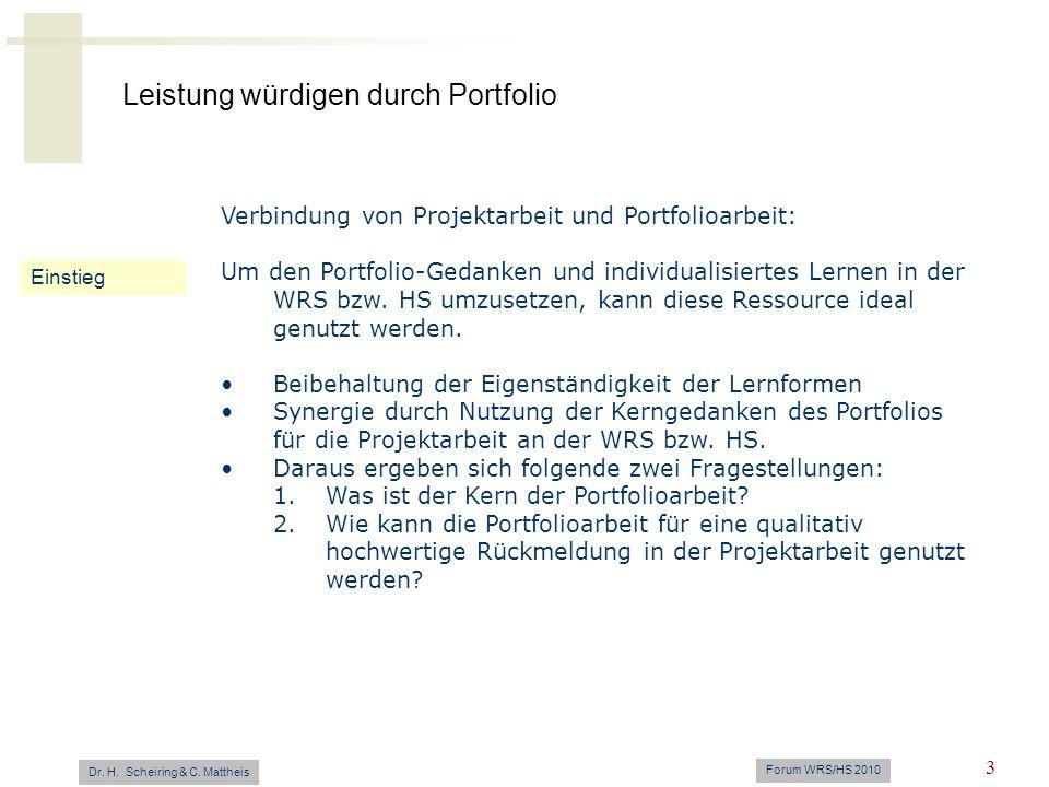 Verbindung von Projektarbeit und Portfolioarbeit: