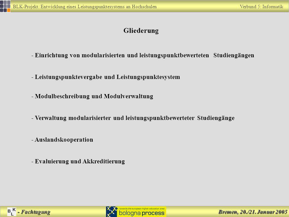 BLK-Projekt: Entwicklung eines Leistungspunktesystems an Hochschulen Verbund 5: Informatik