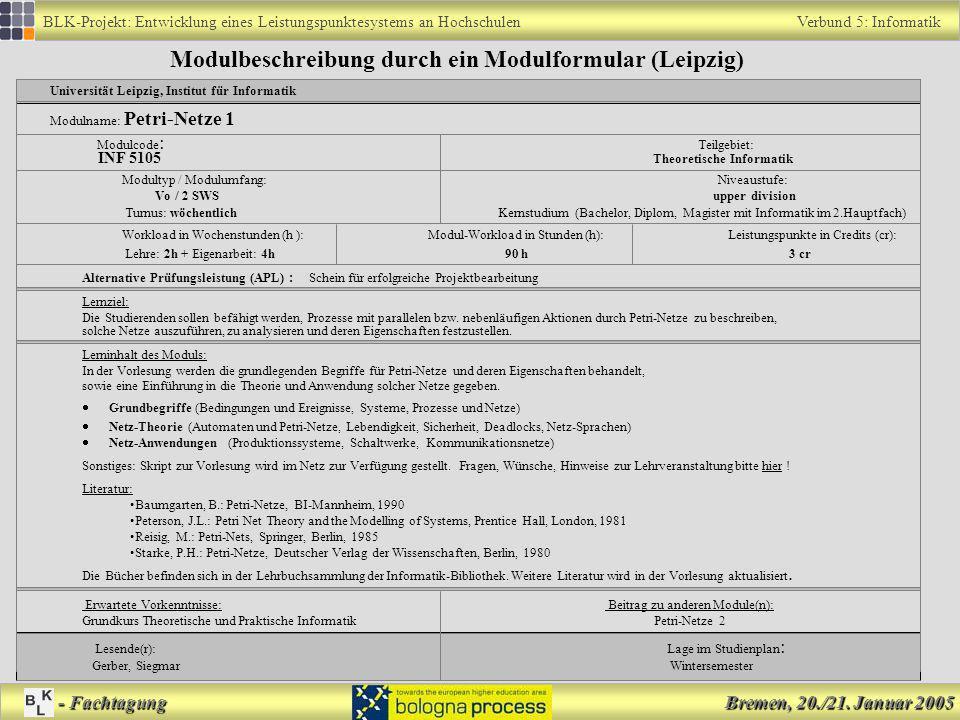 Modulbeschreibung durch ein Modulformular (Leipzig)