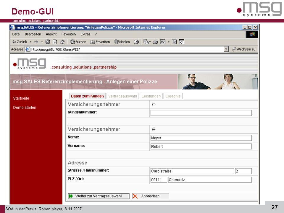 Demo-GUI - Abschluss – Demo-Web-Oberfläche