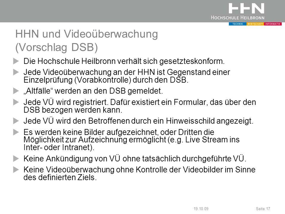 HHN und Videoüberwachung (Vorschlag DSB)