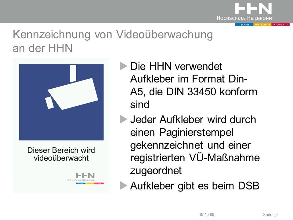Kennzeichnung von Videoüberwachung an der HHN