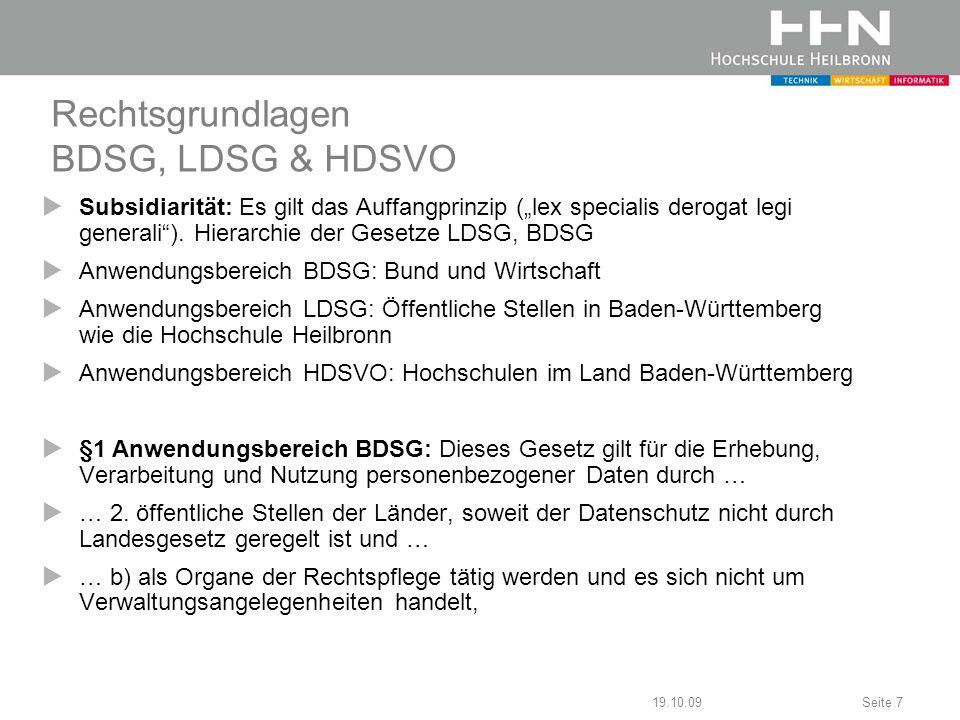 Rechtsgrundlagen BDSG, LDSG & HDSVO