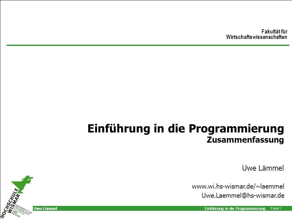 Einführung in die Programmierung Zusammenfassung