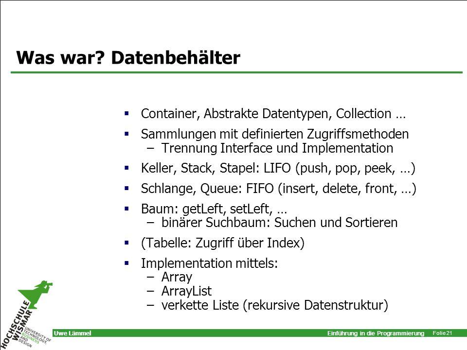 Was war Datenbehälter Container, Abstrakte Datentypen, Collection …