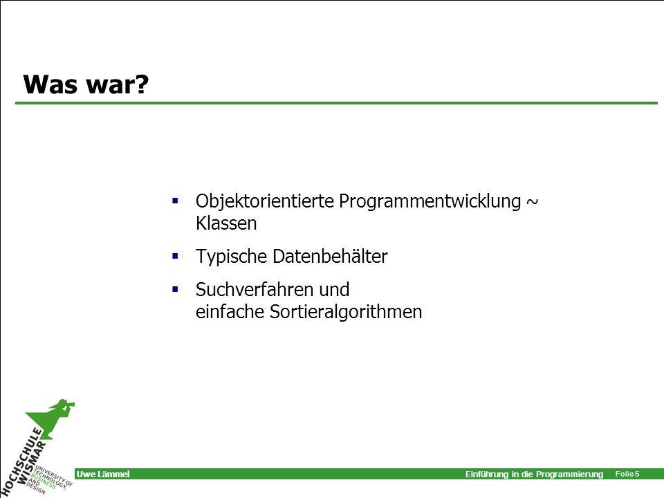 Was war Objektorientierte Programmentwicklung ~ Klassen