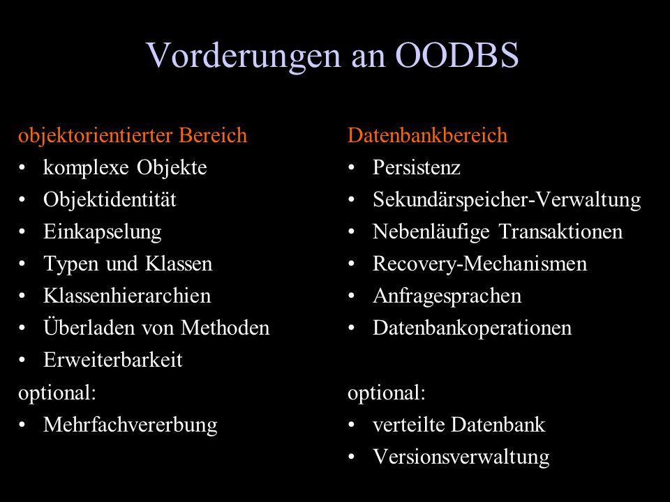 Vorderungen an OODBS objektorientierter Bereich komplexe Objekte
